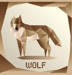 origami grey wolf vector image