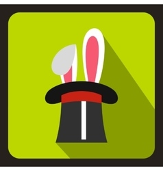 Rabbit appearing from a top magic hat icon vector image vector image