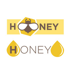 abstract logo design with text honey isolated vector image