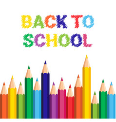 back to school poster colorful crayons pencils vector image