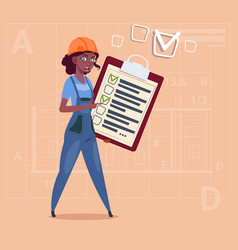 Cartoon female builder carpenter hold checklist vector