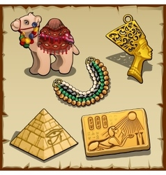 Egyptian symbols and toy camel five items vector image