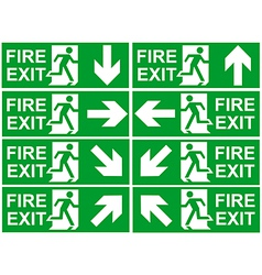 Fire exit signs vector image vector image