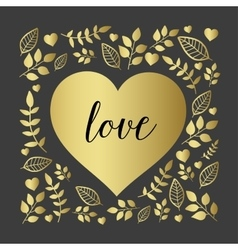 Floral heart with nature brunch and leaf vector image vector image