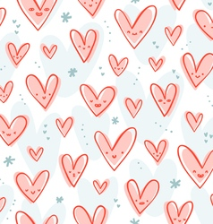 Happy pink hearts pattern vector image vector image