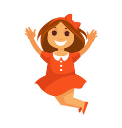 jumping little girl with smile in red dress vector image vector image