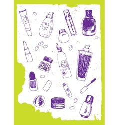 Set of cosmetics doodles vector image