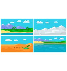 set of natural landscapes in flat vector image