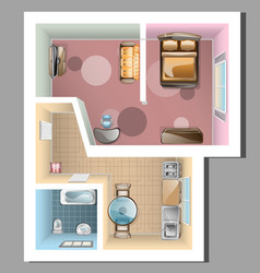 top view of apartment interior vector image vector image