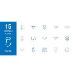 15 bikini icons vector