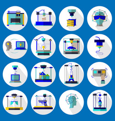 3d printing and 3d modeling set vector