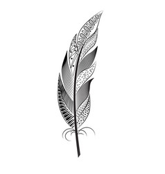 a large black and white feather with patterns vector image
