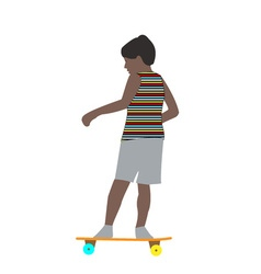 A little boy in a striped t-shirt skateboarding vector