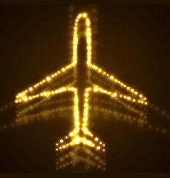 Abstract airplane of glowing dots vector
