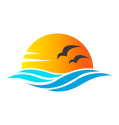 abstract design of ocean icon or logo with sun vector image