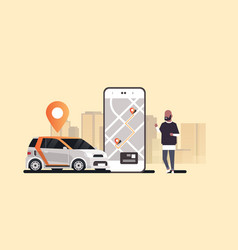 african man using mobile app ordering automobile vector image