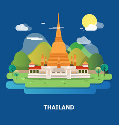 Amazing holy temple in thailand design vector