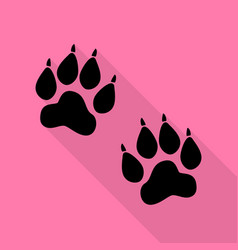 animal tracks sign black icon with flat style vector image