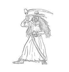 ankou graveyard watcher with scydrawing black vector image