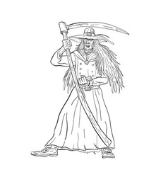 ankou graveyard watcher with scythe drawing black vector image