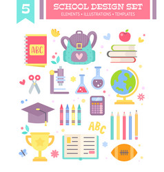 back to school design set of cartoon items vector image