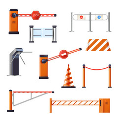 Barriers and stop cranes entrance or turnstile vector