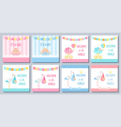 bashower girl boy card set banners vector image