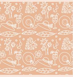 beige summer seamless pattern hat glasses vector image