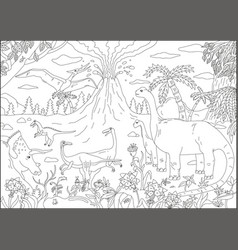 Big coloring page for children with dinosaur and vector