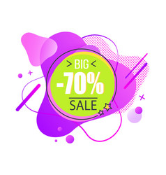 Big sale offer abstract purple sticker vector