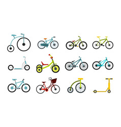 Bike icon set flat style vector