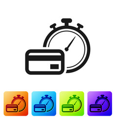 Black fast payments icon on white background fast vector