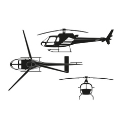 black silhouette helicopter vector image