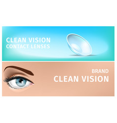 blue female eye and transparent soft contact lens vector image