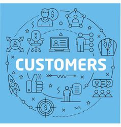 Blue line flat circle customers vector