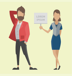 business people man and woman full length of vector image