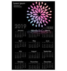 calendar design for 2019 simple black background vector image