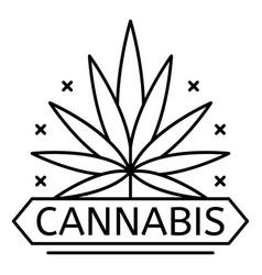 cannabis drug leaf logo outline style vector image