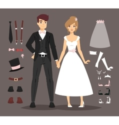 Cartoon wedding couple and ixons vector