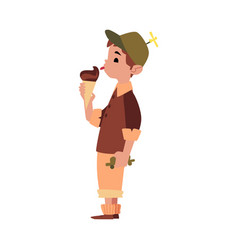child holding and eating chocolate ice cream cone vector image