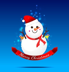 Christmas snow man on the dark blue background vector image vector image