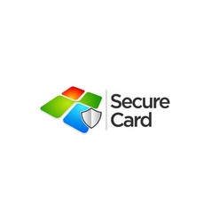 colorful square secure data card logo sign symbol vector image