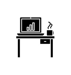 computer desk black icon sign on isolated vector image