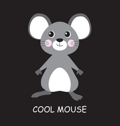 cool mouse isolated on black vector image