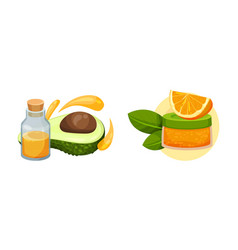 Cosmetic oil with orange fruit and avocado in jar vector