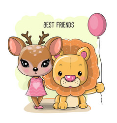 cute cartoon deer and lion on a white background vector image