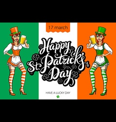 Cute girl serving Saint Patricks Day beer - banner vector image
