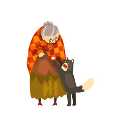 cute granny playing with her black cat lonely old vector image