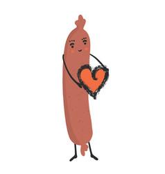 cute hot dog holding love heart cartoon vector image