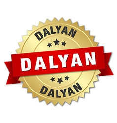 Dalyan round golden badge with red ribbon vector image